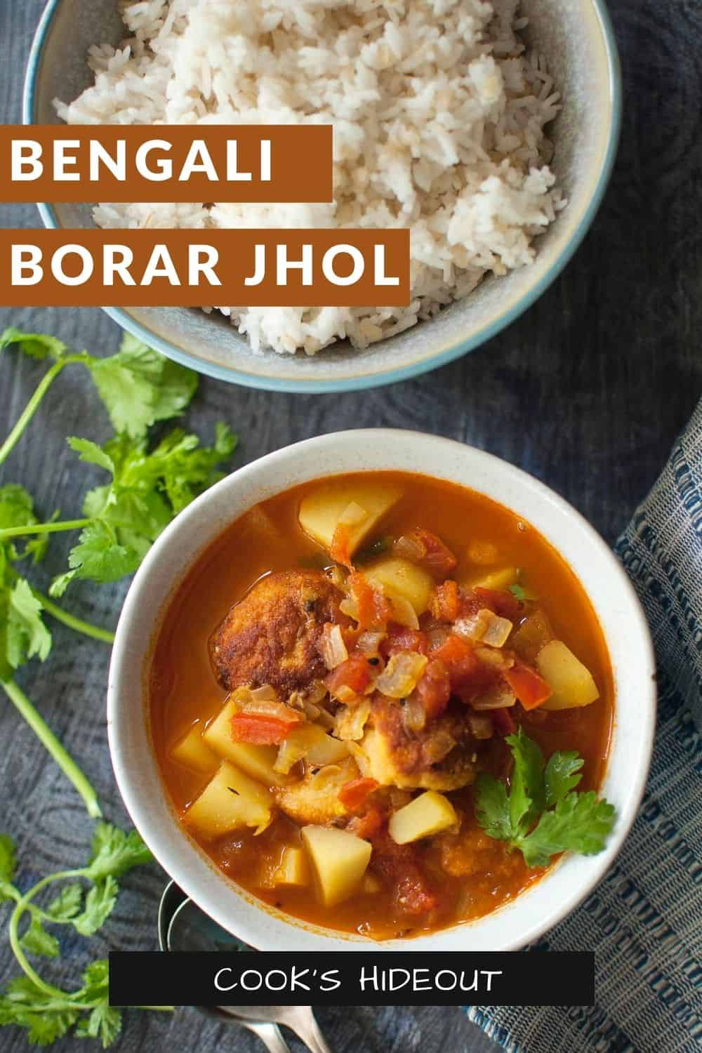 White bowl with Bora'r Jhol and a bowl of rice in the background