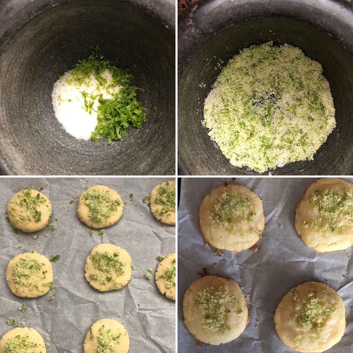 Mortar with sugar and lime zest pounded into coarse ground mixture and cookies topped with lime sugar
