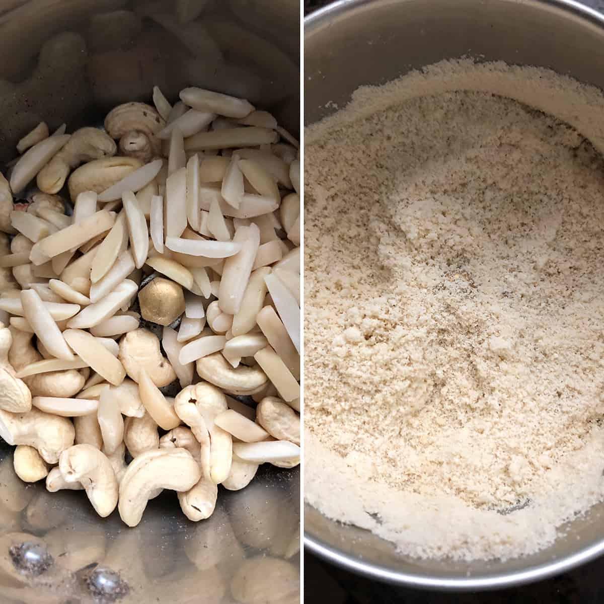 Cashews and almonds ground to a fine powder