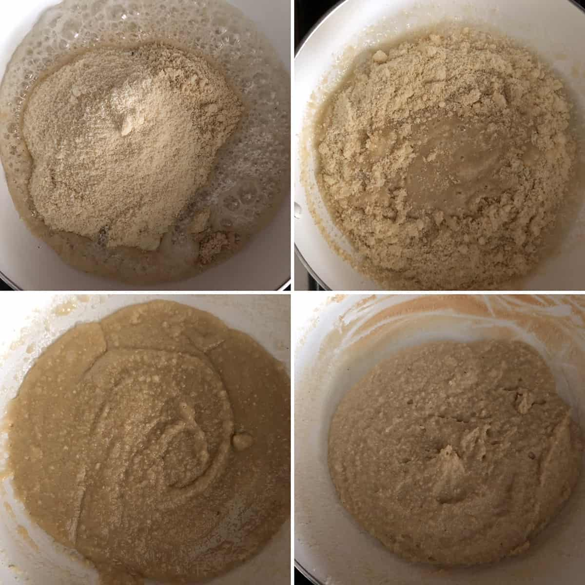 Step by step photos showing the making of mixed nut burfi