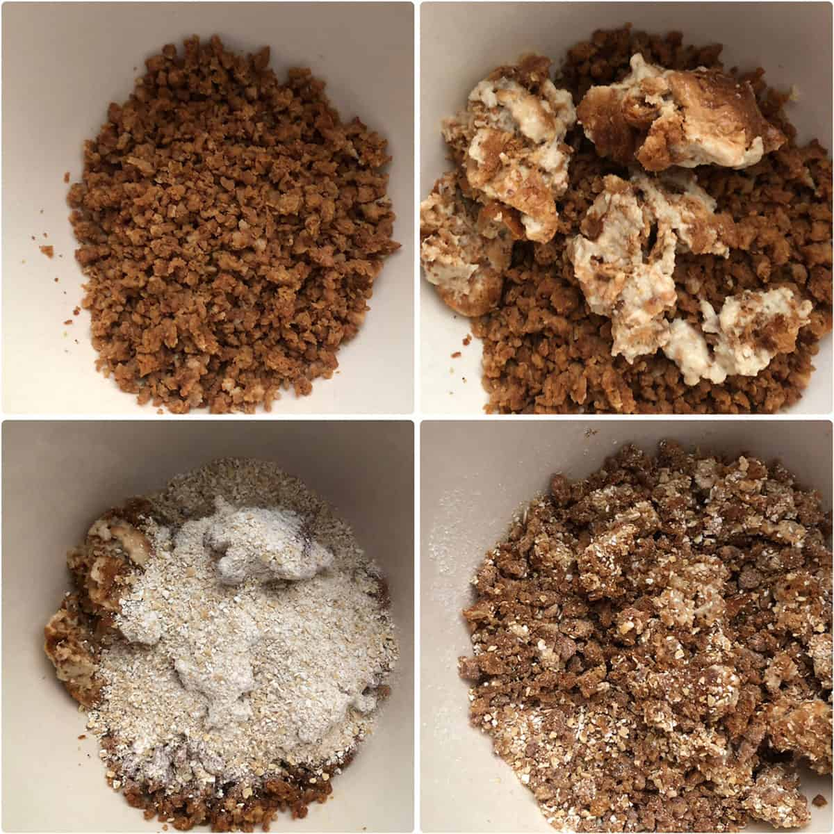 Meatless crumbles - adding soaked bread, oat flour and mixed together