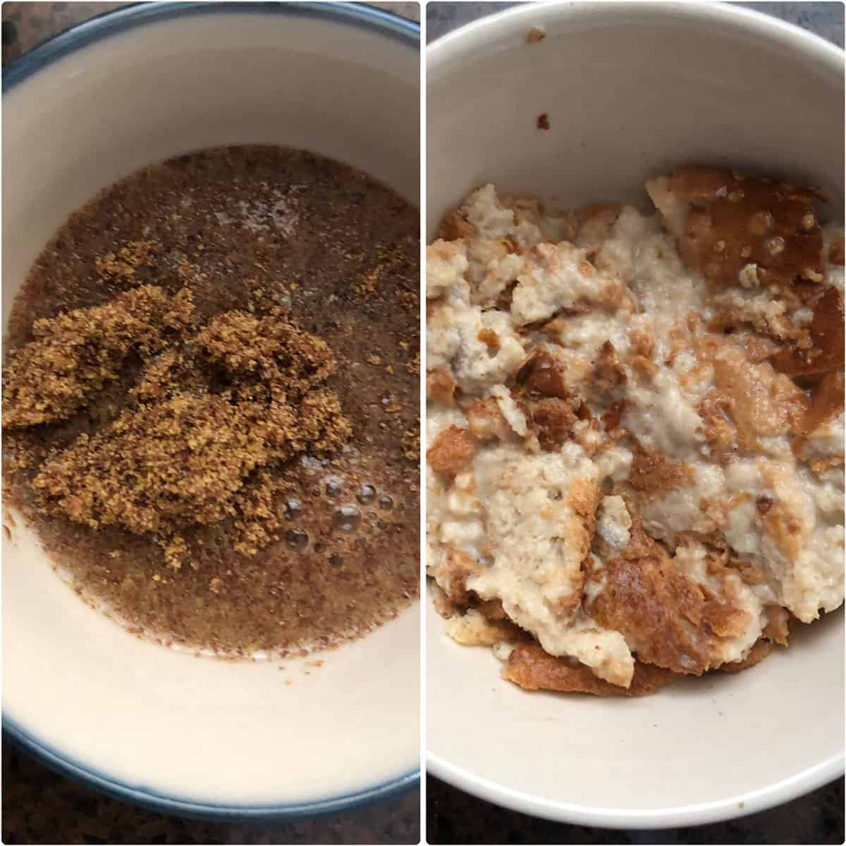 Side by side photos showing flaxseed meal and bread soaked in milk