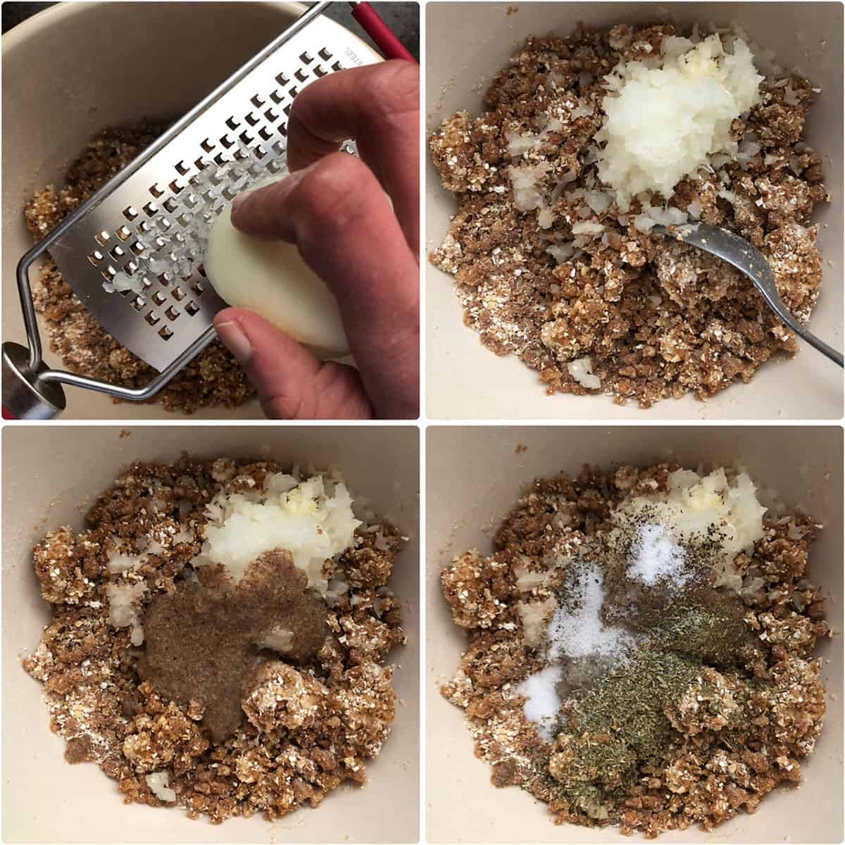 Onion grated into the bowl, addition of flaxseed meal, herbs, salt and pepper