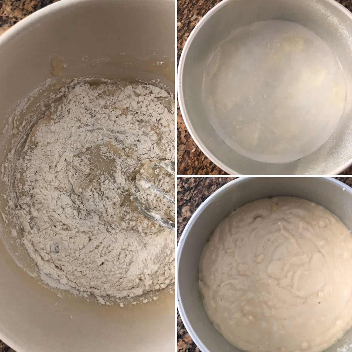 Wet and dry ingredients mixed in a mixing bowl. Poured into prepared baking pan