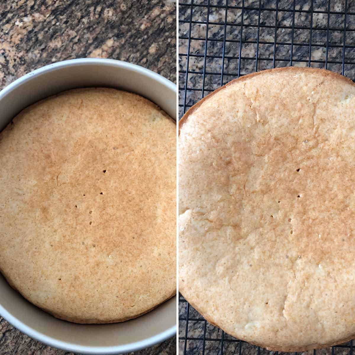 Baked cake in cake pan and placed on wire rack for cooling