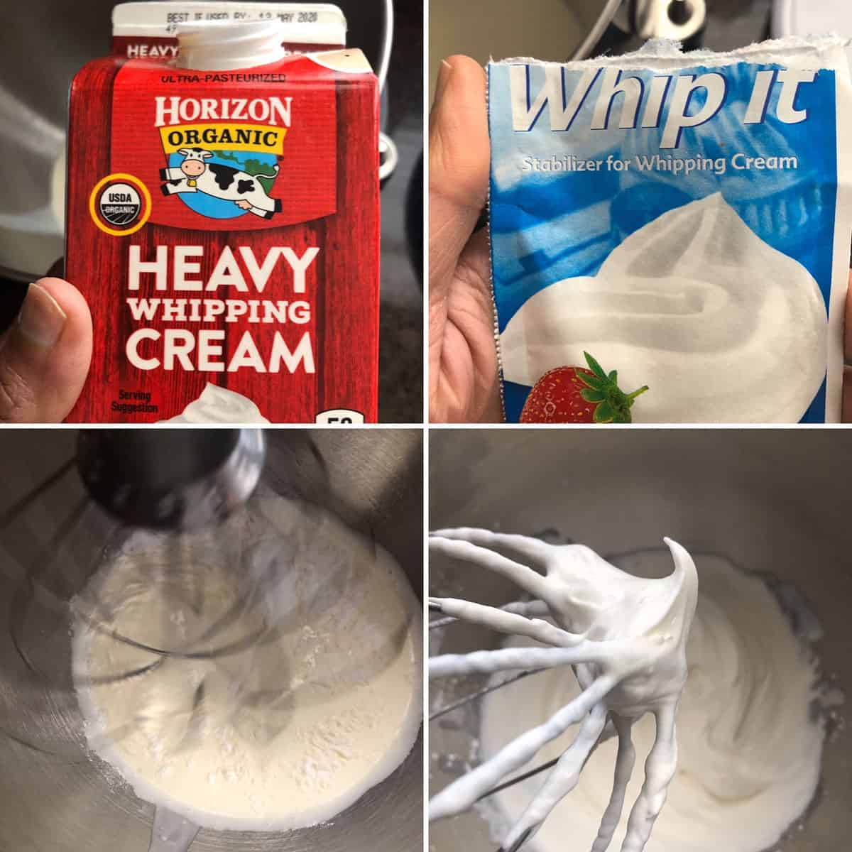 Making whipped cream frosting using heavy cream, stabilizer, confectioners sugar