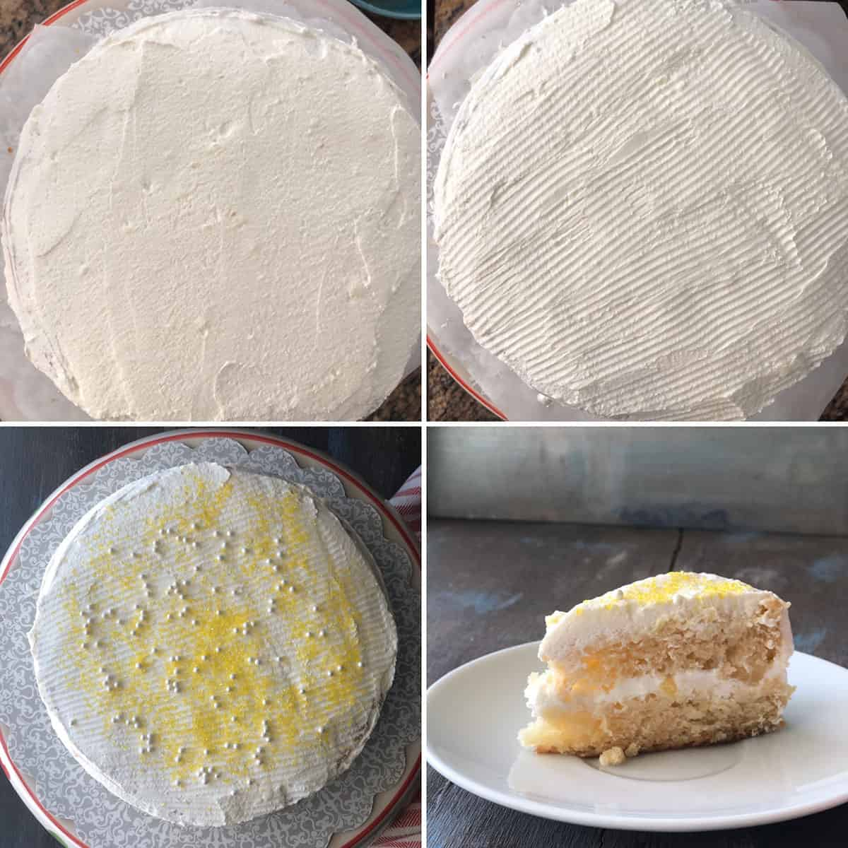 Step by step photos showing the assembling of pineapple pastry