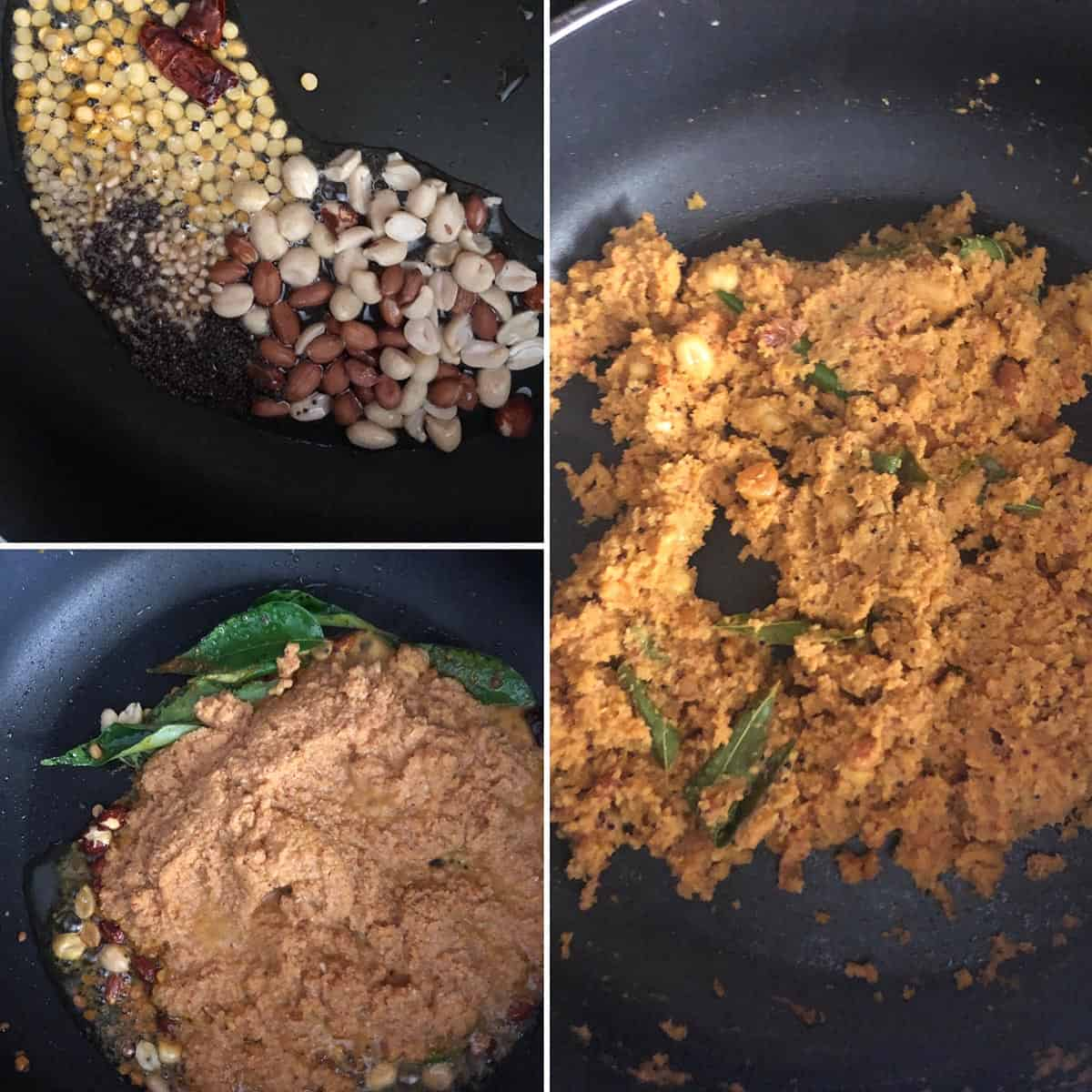 step by step photos showing cooking of peanuts, addition of ground paste to a nonstick pan