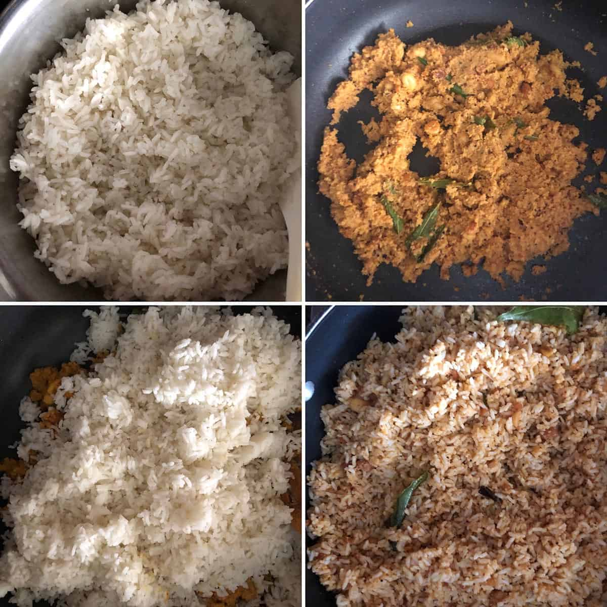 photos showing the addition of cooked rice to the masala in a nonstick pan