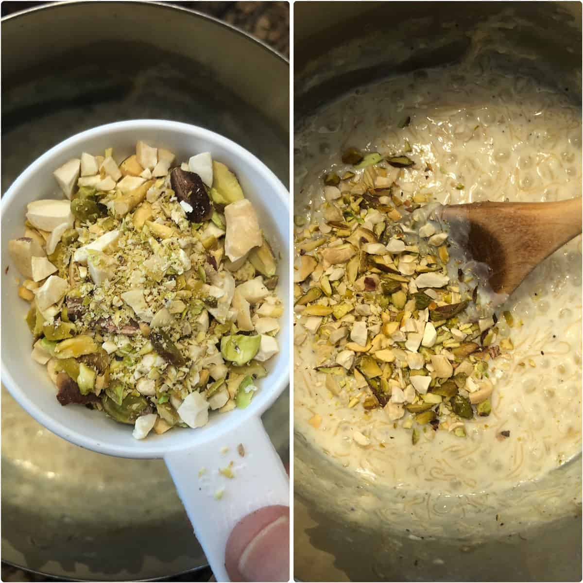 Chopped nuts being added to Sago kheer