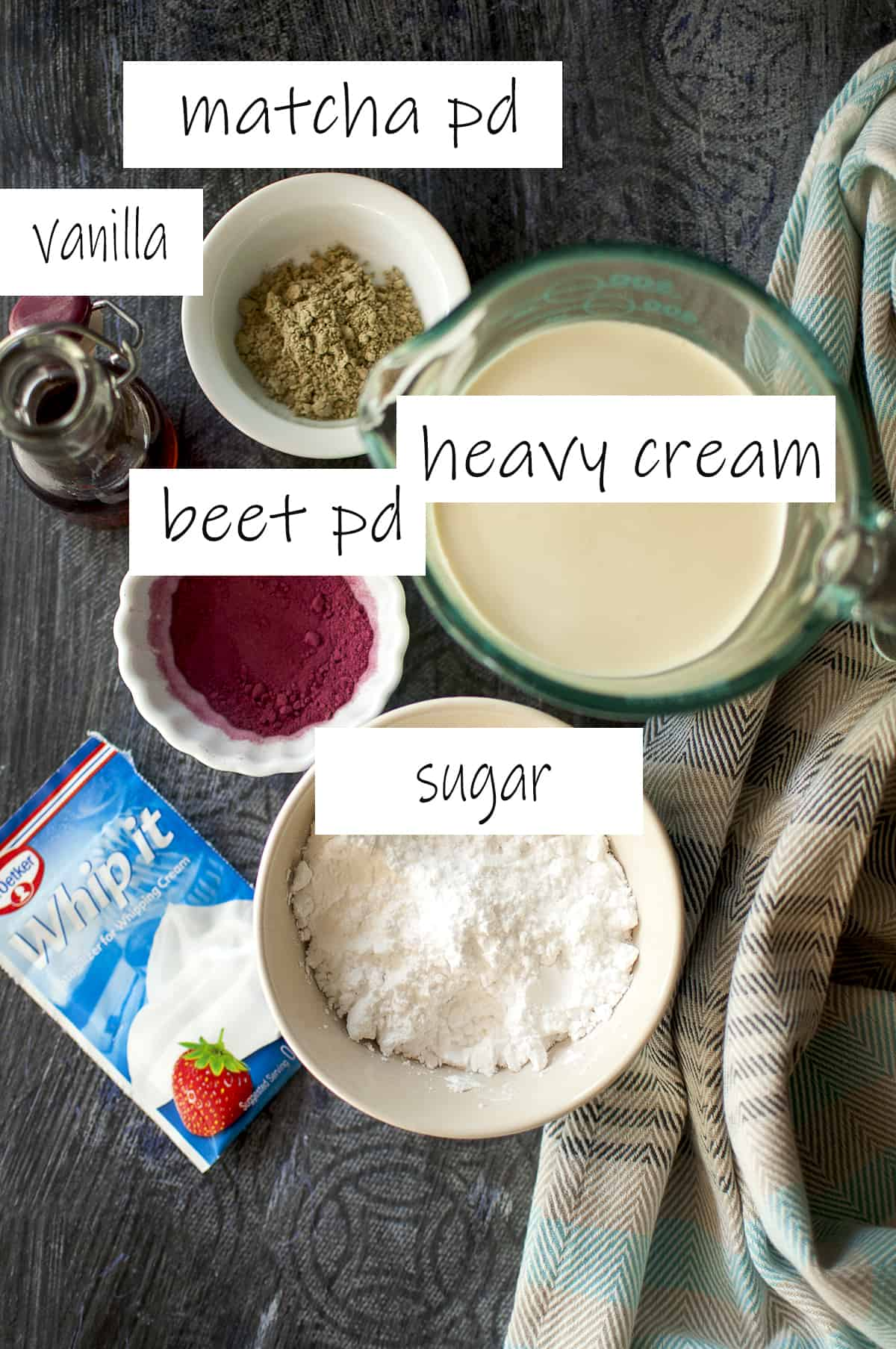 Ingredients needed to make the frosting placed in bowls
