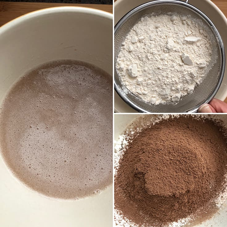 Step by step photos showing dry ingredients and wet ingredients being mixed
