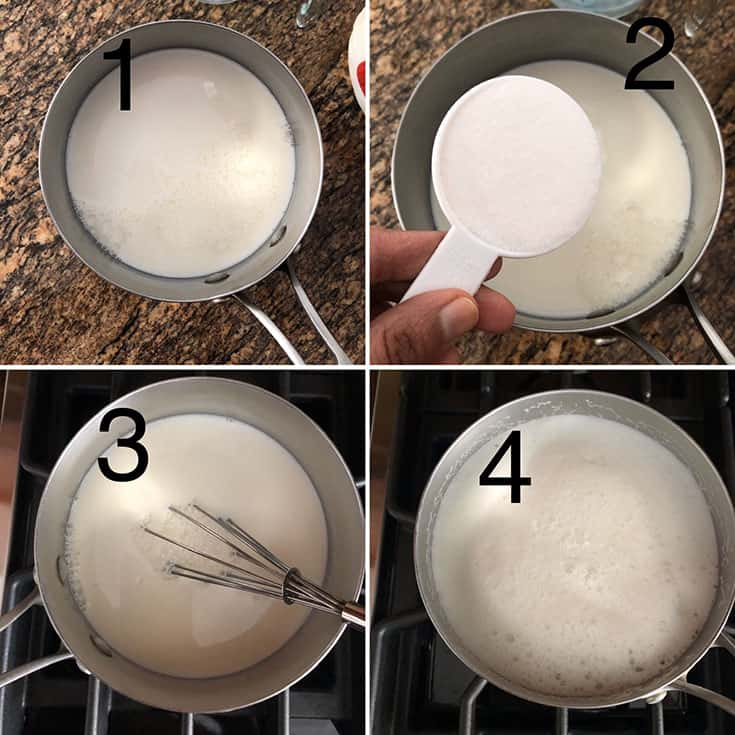 Step by step photos showing saucepan with milk and sugar whisked together and brought to a boil