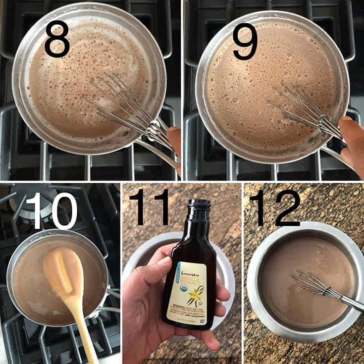 Step by step photos showing adding chocolate-custard powder mixture being added to boiling milk. Whisked until thick and vanilla extract is added
