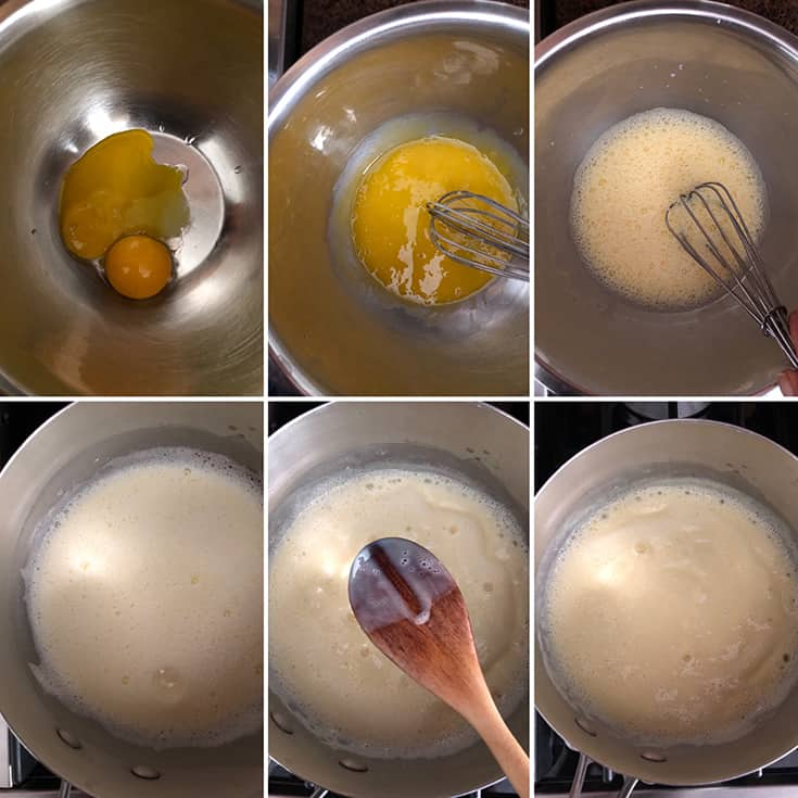 Side by side photos showing the whisking of egg yolks and tempering them with milk mixture. Custard cooked till it coats the back of a wooden spoon