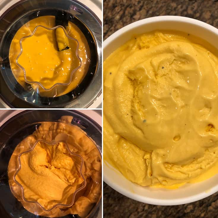 Side by side photos showing the churning of mango gelato