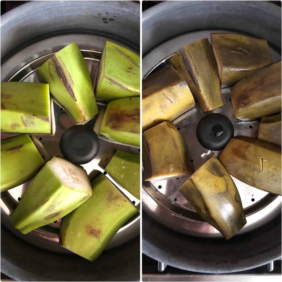 Side by side photos of plantain pieces before and after steamin