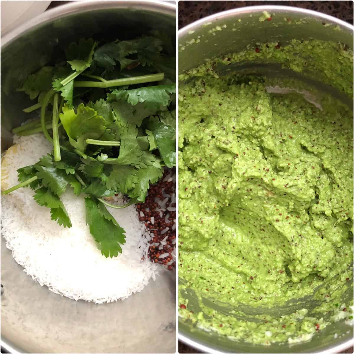 side by side photos of before and after grinding the spice paste ingredients