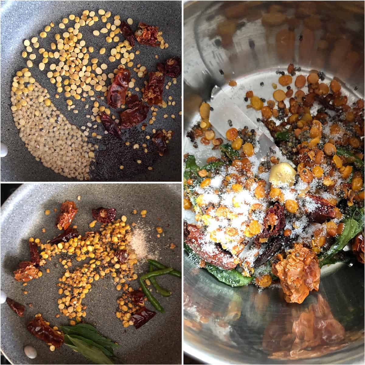 Step by step photos showing the sautéing of spices