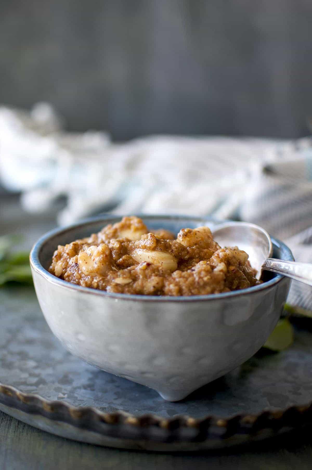 Grey bowl with dosakaya pachadi
