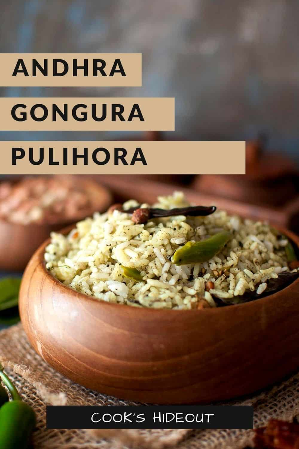 Wooden bowl with gongura rice
