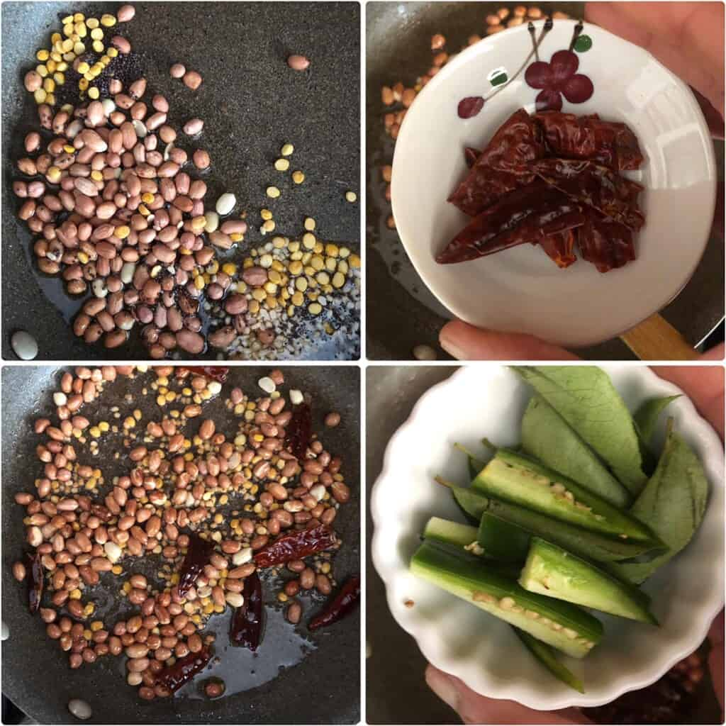 Step by step photos showing the sautéing of peanuts, lentils and curry leaves