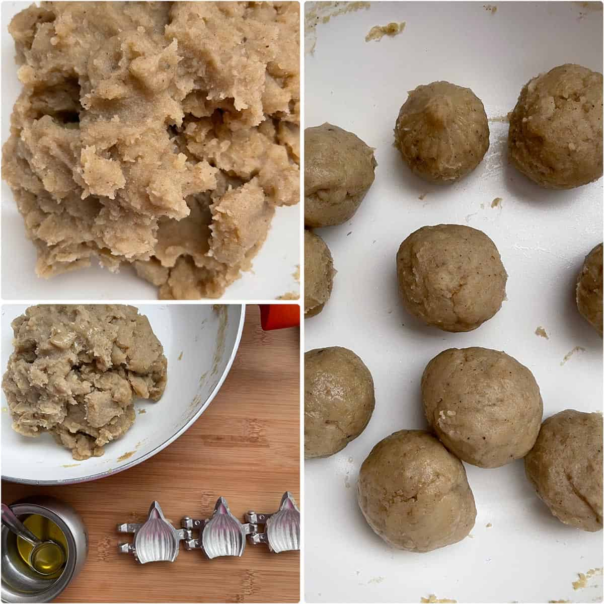 Cooked mixture divided into balls