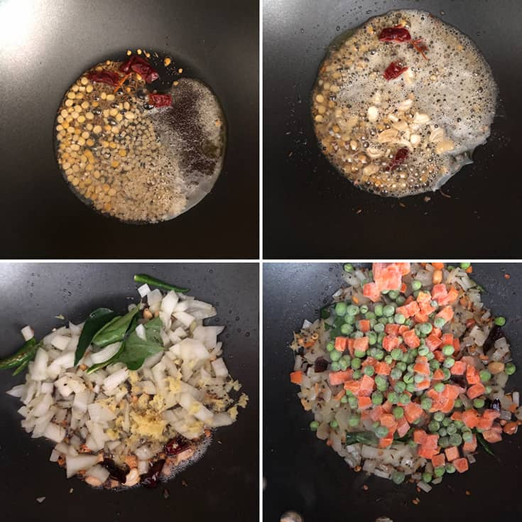 Side by side photos showing the making of upma - cooking dals, cashews, mustard & cumin seeds, onions, ginger, mixed vegetables