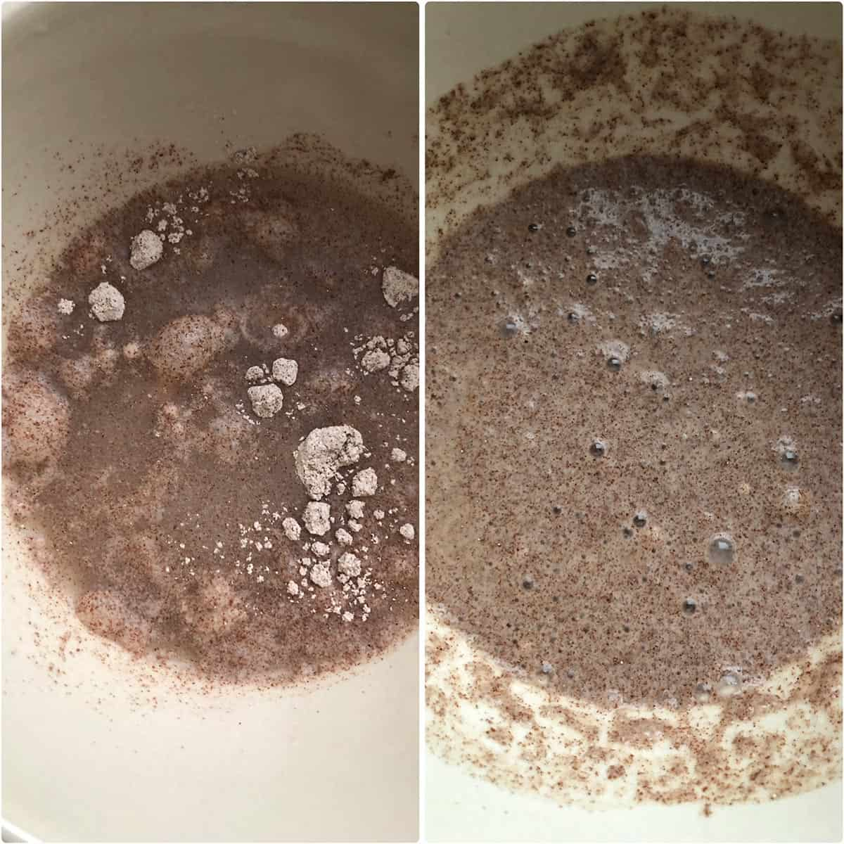 Finger millet flour whisked into a smooth paste
