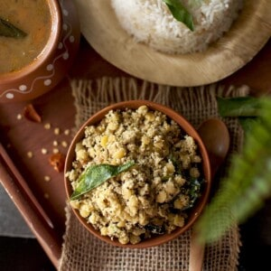 top view of a brown bowl with telagapindi kura