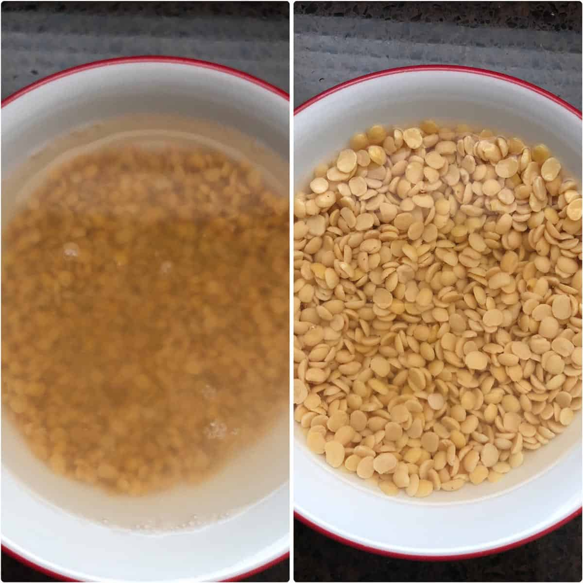 side by side photos of soaked lentils in white bowl