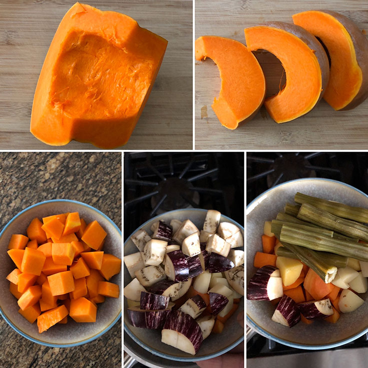 Photos of pumpkin, eggplant and drumstick to be used in the stew