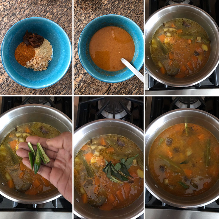 Photos showing the making of south Indian stew