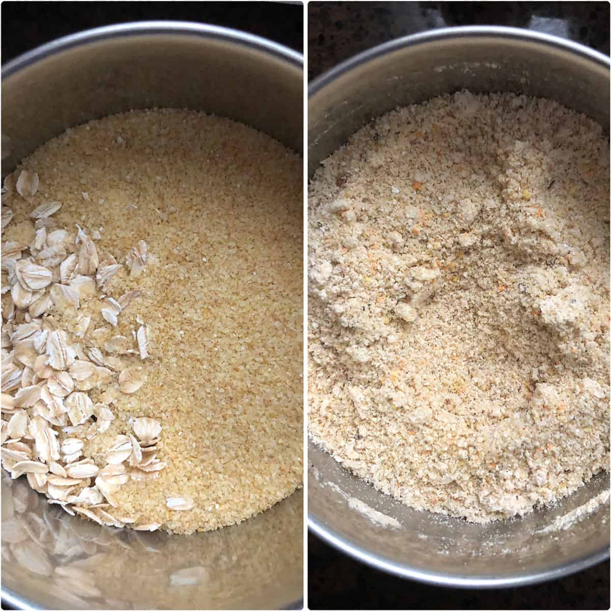 Side by side photos of before and after grinding the oats, cracked wheat and spices