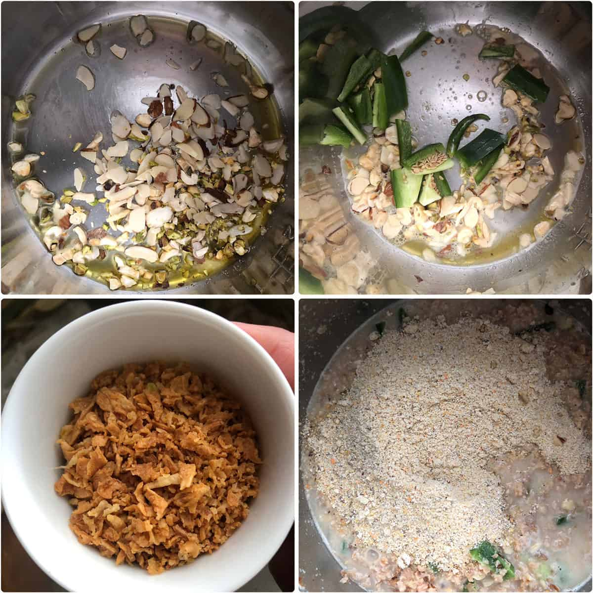 Step by step photos showing the additions of nuts, chilies, fried onions to the Instant Pot