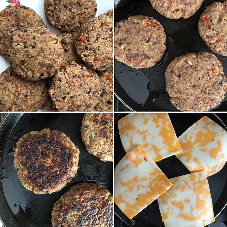 Photos showing the cooking of adzuki bean burgers with cheese slices