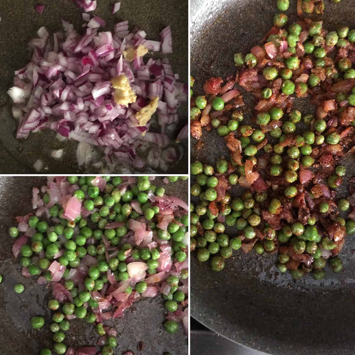 Sautéing red onions and green peas in a nonstick pan