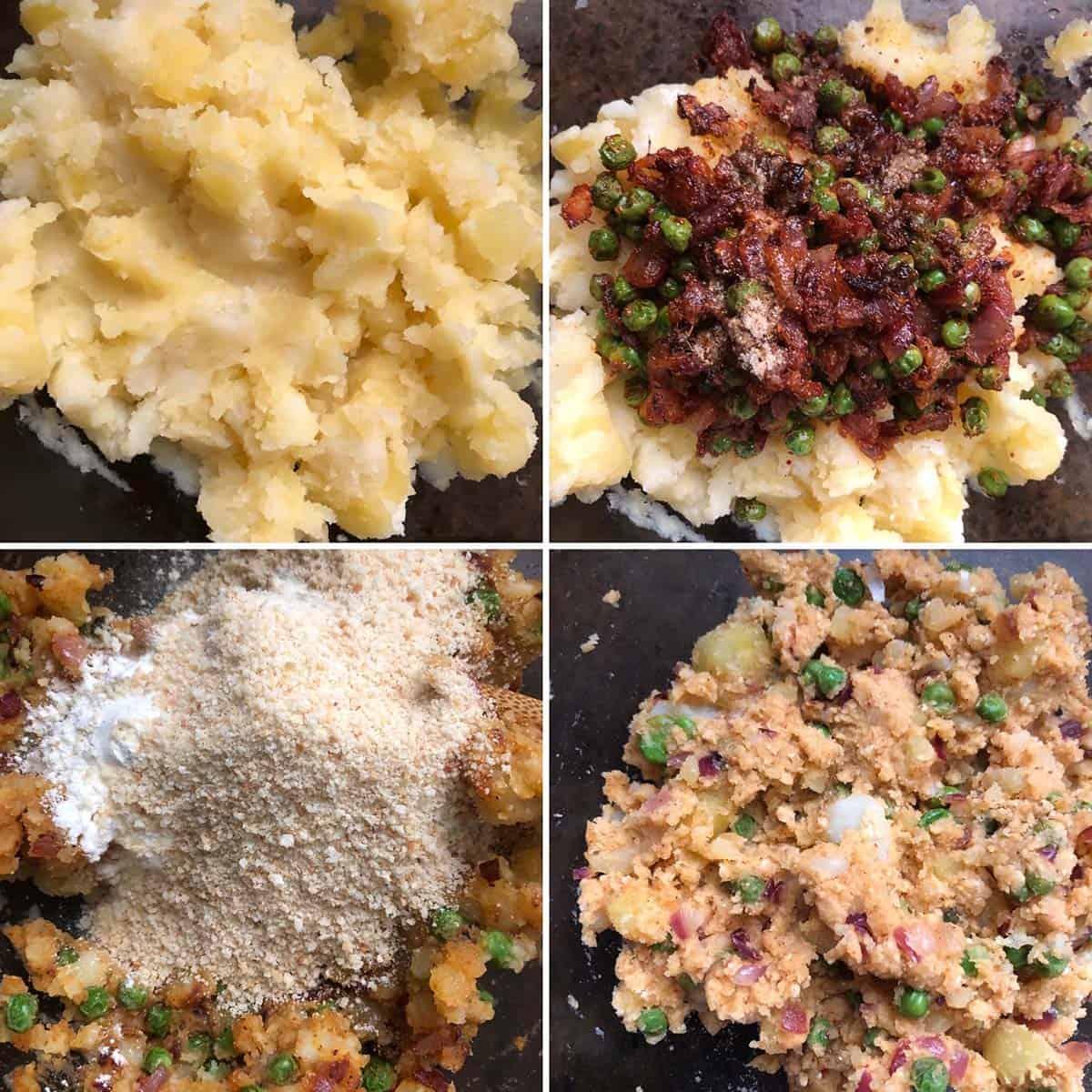 Adding mashed potatoes, bread crumbs to make potato patty mixture