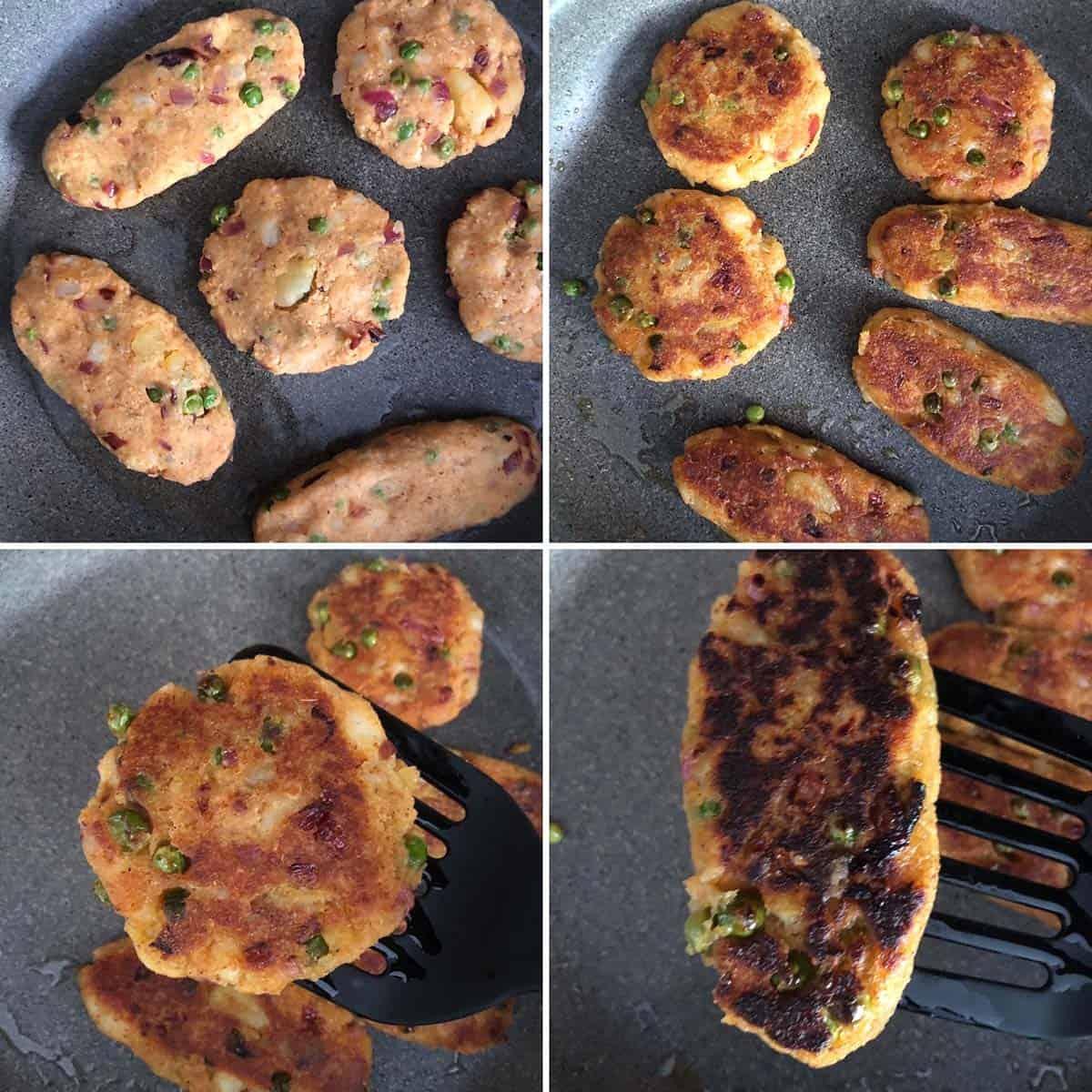 Pan frying potato patties until golden and crispy