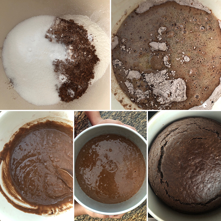 Photos of dry ingredients for the cake - flour, sugar, salt and cocoa powder whisked in a bowl - liquid ingredients are added and batter is poured into a baking pan. Baked cake