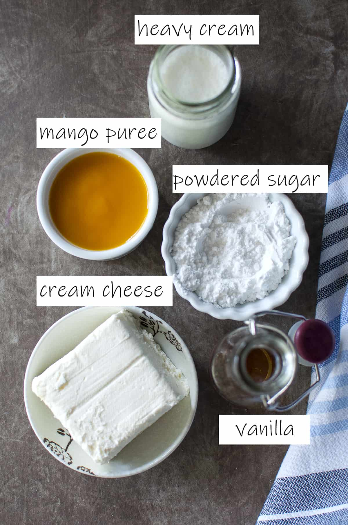 Ingredients needed for the frosting
