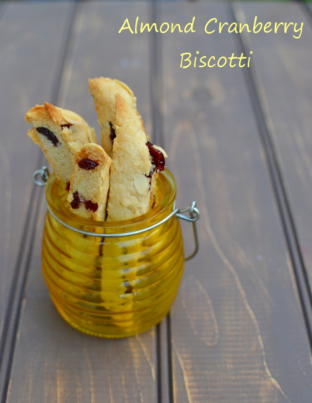 Yellow jar with cranberry almond biscotti