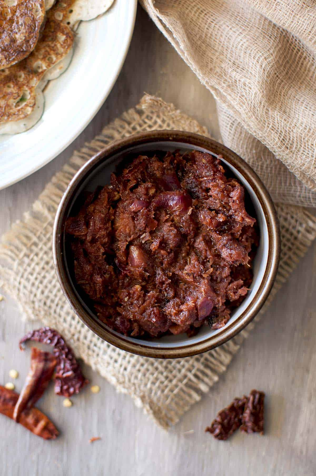 Brown bowl with spicy onion chutney