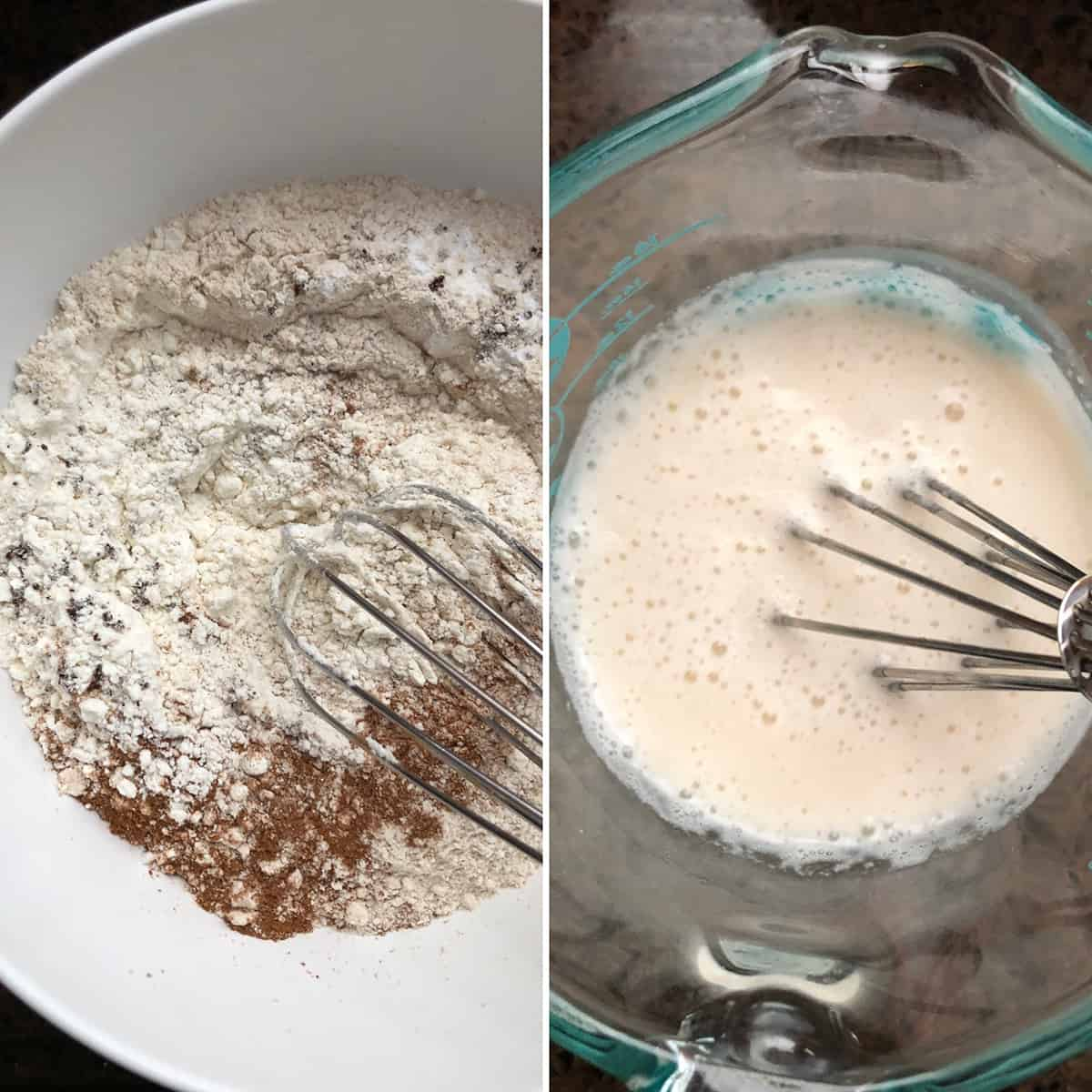 Side by side photos of wet and dry ingredients ready to be mixed.