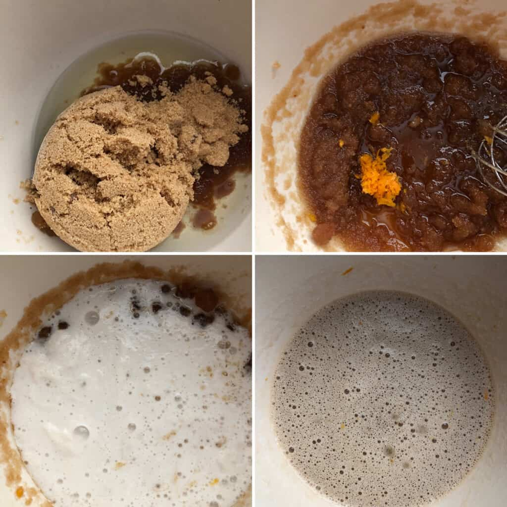 Step by step photos showing the beating of oil, sugar, orange zest and wet ingredients.