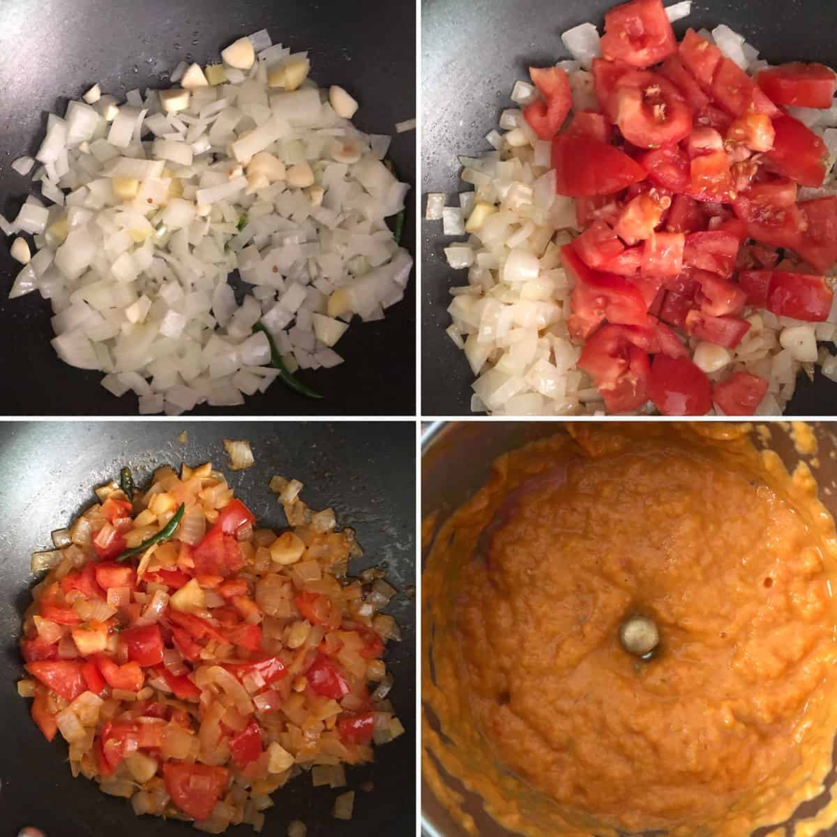 Sautéed onion, tomato and ground to a paste