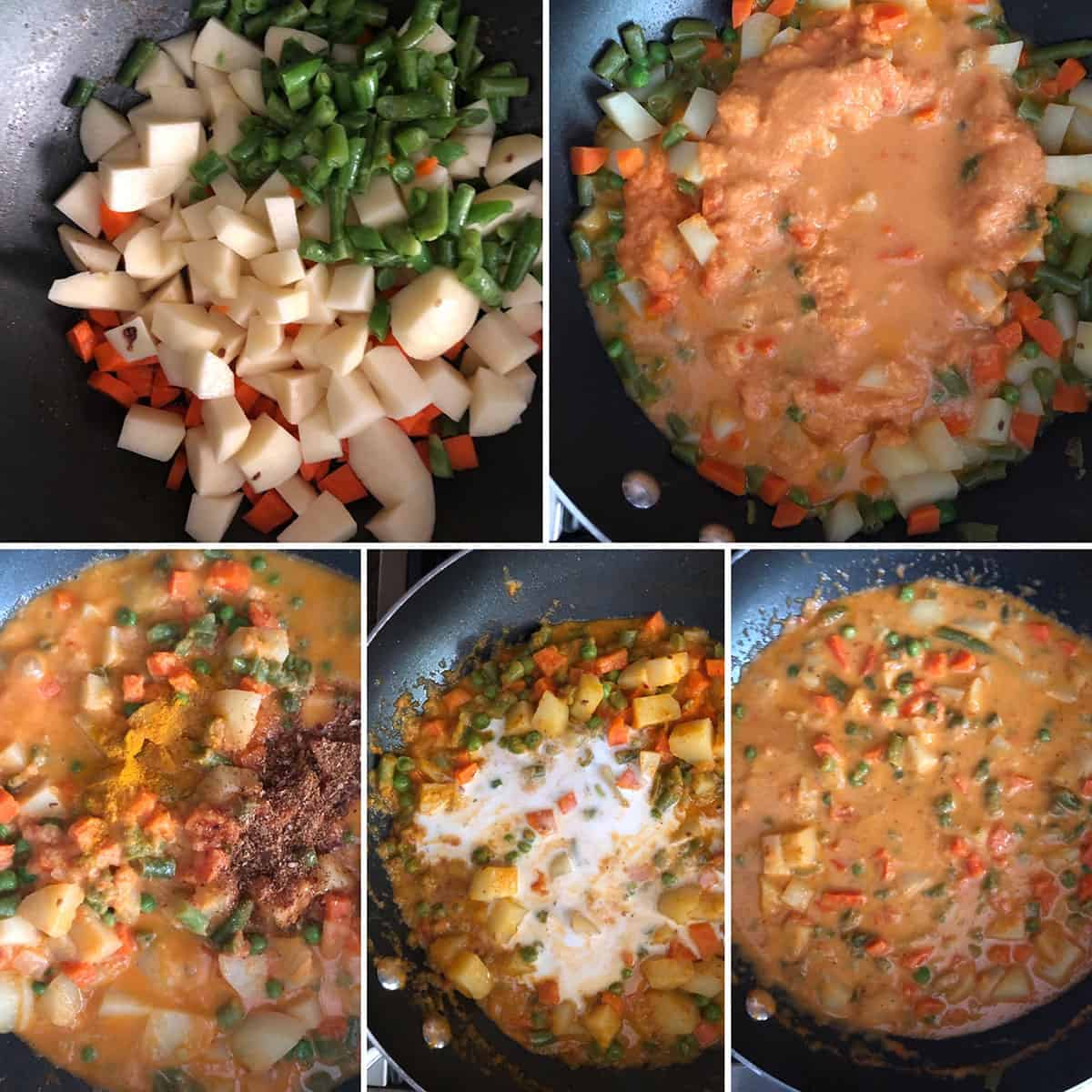 Step by step photos showing the cooking of vegetables with coconit milk
