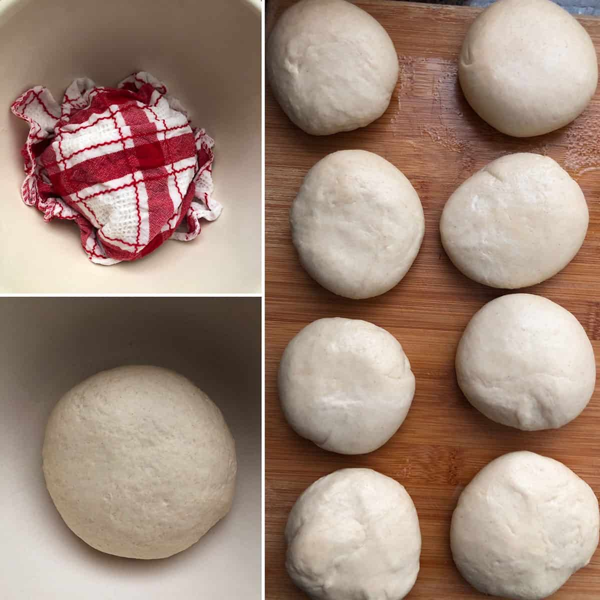 Dough set aside covered in damp kitchen towel and divided into 8 equal parts