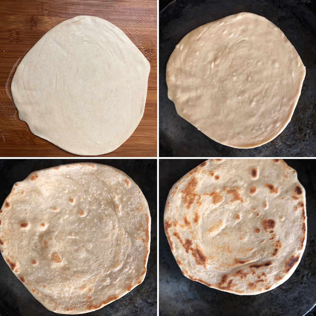 Rolled out parotta cooked on a hot griddle until golden brown on both sides