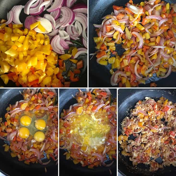 step by step photos showing the making of chilli parotta - onions and peppers sauteed in oil, then eggs scrambled into the mixture